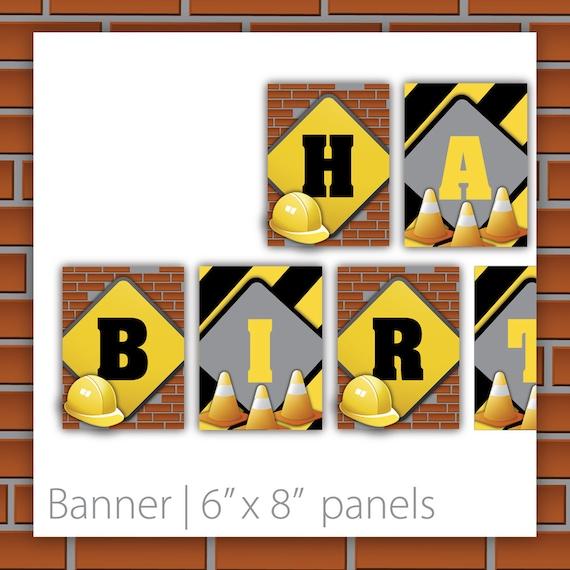 Construction Birthday Banner - Construction Chic ~ Boys construction birthday, construction banner, construction sign, construction