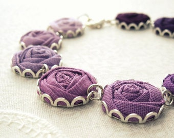 Rose Bracelet in Purple Ombre Hues - Romantic Fabric Flowers in Berry, Violet & Orchid
