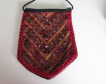 Embroidered Bag with Ribbonwork, Small Mirrors,  Vintage Handmade, Intricate Detail,Diamond shaped, Red, Wine, Gold, Small Purse