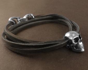 Skull Bracelet - Antique Silver Human Skull Bracelet - Leather Skull Bracelet