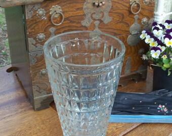 Vintage Vase Geometric Pattern Heavy Issue Pressed Glass Estate Find