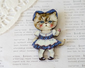 Wooden Kitty in French Maid Outfit Brooch