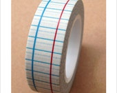 Blue Red Lined Notebook Pages Washi Tape 11 yards 10 meters 15mm Striped Notebook Page School Notebook