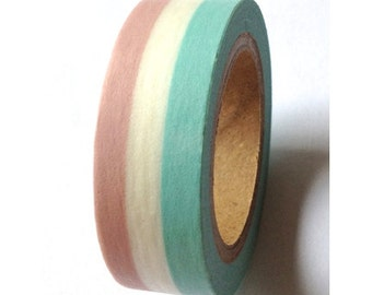 Pink White Blue Pastel Striped Washi Tape 11 yards 10 meters 15mm Mauve Pink Pastel Blue Large Stripes