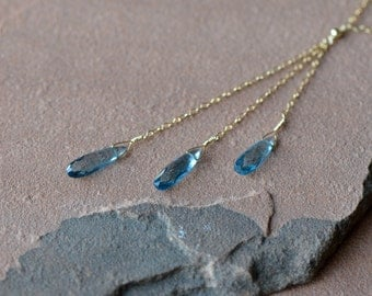 London Blue Topaz Necklace, Lariat Necklace, Natural Blue Gemstones, Delicate Gold Chain