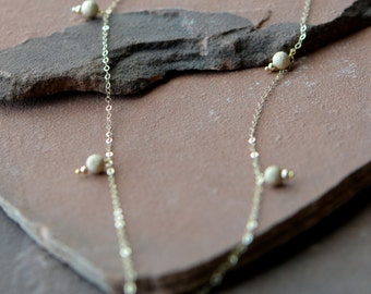 Long Gold Necklace, Glittering Pavé Beads,14k Filled Gold