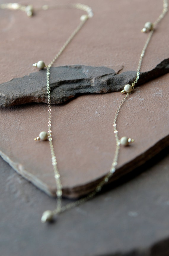 Long Gold Necklace, Glittering Pavé Beads,14k Filled Gold