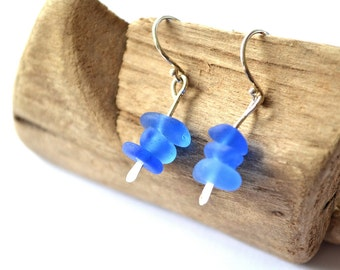 Blue Sea Glass Earrings with Sterling Silver