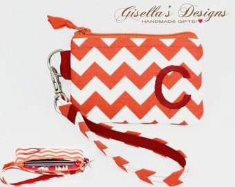Monogram wristlet Student Id Holder, Personalized credit card wallet, custom made Small zipper pouch, reward card holder,College Colors.