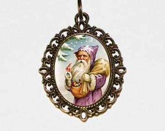 Santa Claus Necklace, Christmas Jewelry, Bronze Oval Pendant