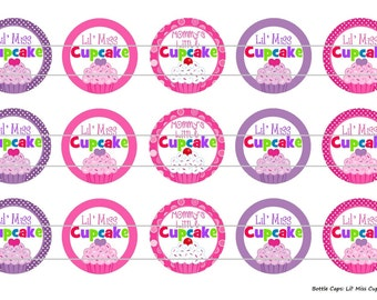 """15 Lil Miss Cupcake 1 Digital Download for 1"""" Bottle Caps (4x6)"""
