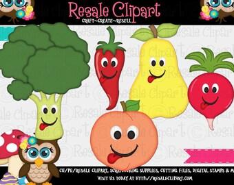 Cute Fruit and Veggies 2 Clipart (Digital Download)