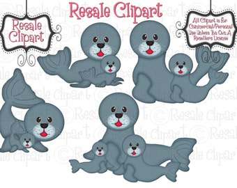 Baby Seals 2 Clipart (Digital Download)