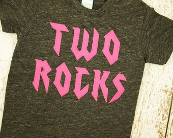 Hot pink Rockstar birthday shirt rock and roll party two rocks one rocks for any birthday organic blend tee toddler youth guitar music