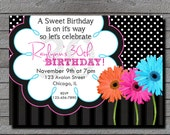 Milestone Daisy Birthday Invitation ANY COLOR