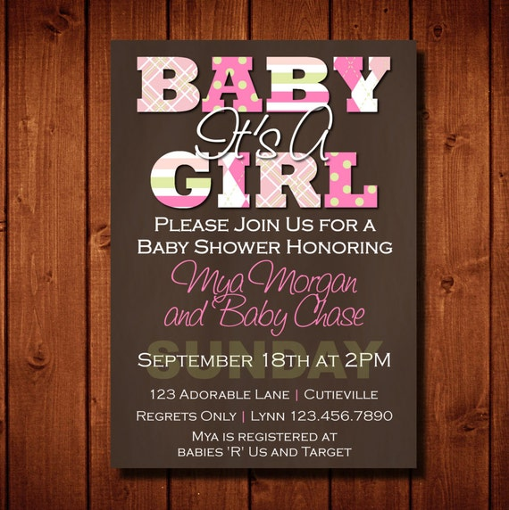 Modern It's A Girl Baby Shower Invitation Plaid Rich Brown Pink Green Digital File or 5x7 Prints on Front and Back