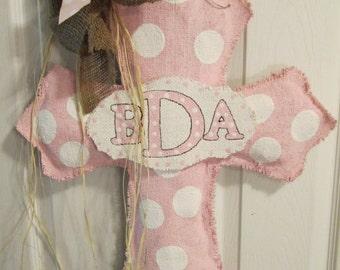 Cross with Baby Burlap Door Hanger in Pink Ribbon Baby Girl with Initials