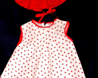 Infant Red and White Apple Print Dress and Ruffled Hat Size 12 Months