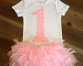 Cake Smash 1st Birthday Feather Outfit Full Feather Tutu, Bodysuit & Headband 1st Birthday Cake Smash, Pink Feather Tutu 1st Birthday Outfit