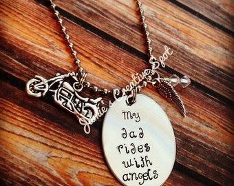 Hand Stamped Remembrance Necklace- My Brother Rides With Angels-  Memorial Memento Jewelry