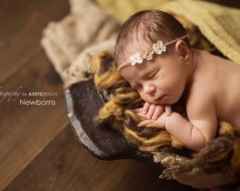 Newborn to Child Tie Back, Newborn Photography Prop, Sweet Little Burlap Flower and Twine Tie Back Headband, Photography Prop, Baby Headband