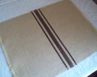 Burlap Placemats - Striped Placemats - Grain Sack Placemats - Sets of 4 to 12 - Choice of Burlap and Stripe Color - Rustic Table Settings
