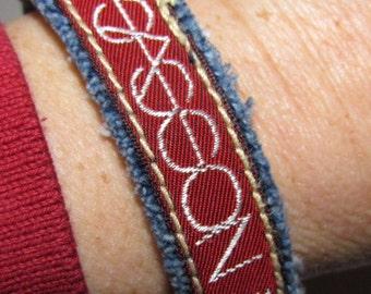 Bracelet - Recycled Vintage 1970s- 1980s Sasson Denim - Upcycled