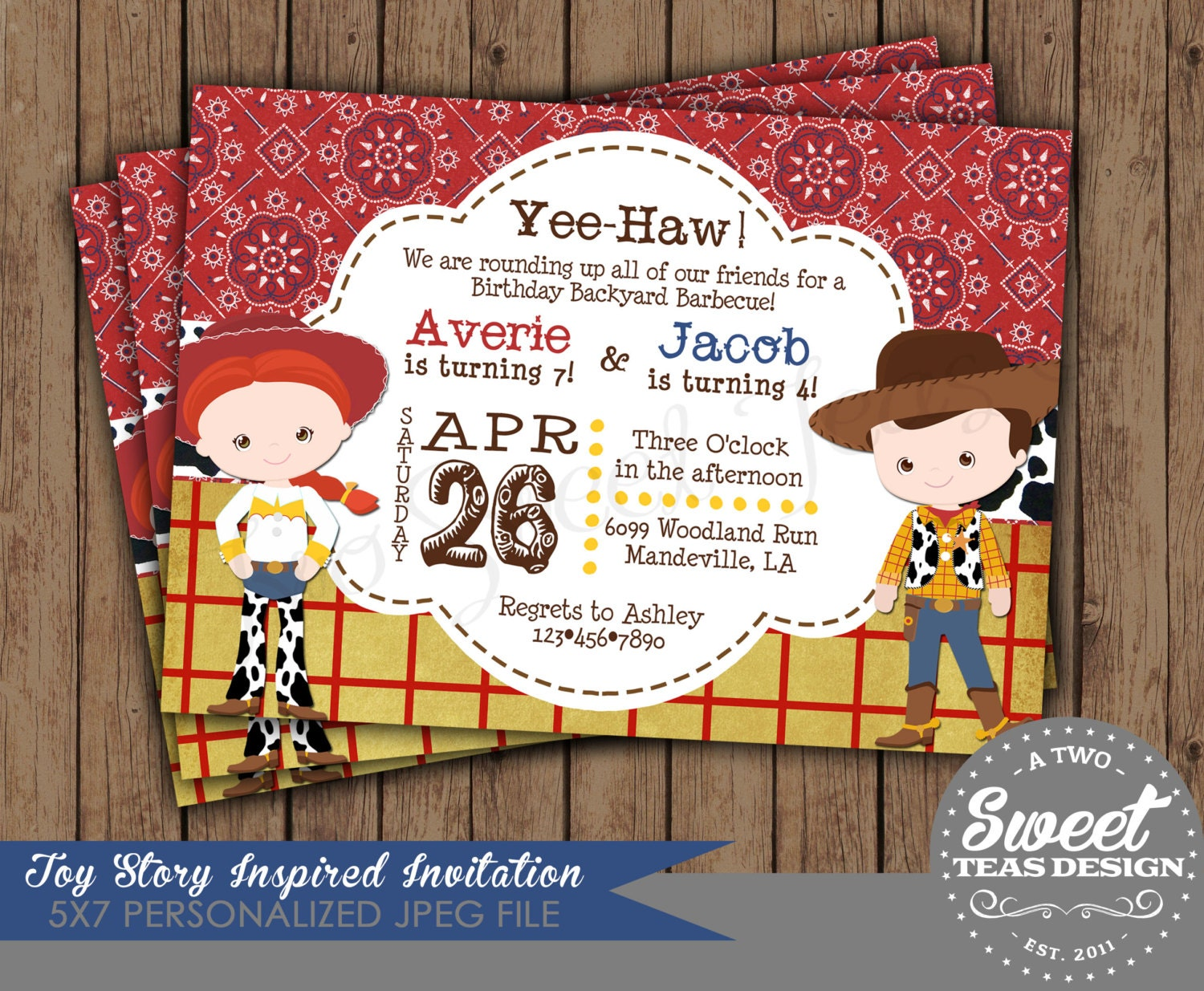 Woody and Jessie Party Invitations Images