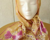 vintage 60s vera golden orchid butterfly floral scarf 43 x 14 pink ladybug hand rolled vera neumann