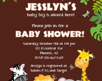 Custom Jungle Safari Baby Shower Invitation, You Print
