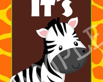 Custom Baby Shower Jungle Safari Signs, 8x10 or 5x7, You Print