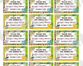 Custom Baby Shower Jungle Safari Thank you tags