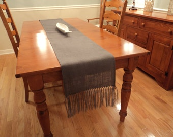 Burlap Table Runner with Fringe Your Size and Color Gray Table Runner Fall Table Settings Rustic Modern Home Decor