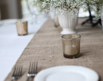 "12 Foot Long Hemmed Burlap Table Runner in 14"", 16"" or 18"" Width 144"" Table Runner"