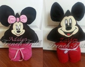 SET of BOTH 3D hooded Applique Mouse Towel Designs,