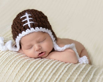 Footbal Beanie with Earflaps, Newborn Photography Prop, Brown with White Laces Sports Hat