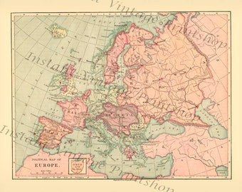 Instant high resolution Digital Download file - EUROPE  1875