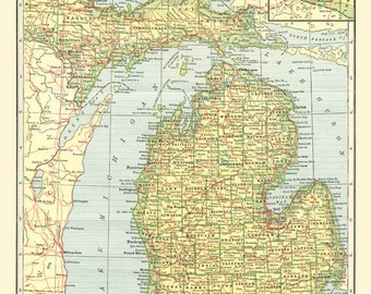 Antique MICHIGAN MAP 1906 Instant Digital Download