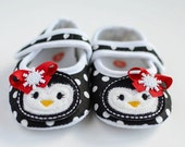 Miss Ella's Boutique--Penguin holiday polka dot crib shoes Christmas black and white