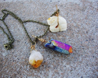 Lucky talisman wire wrapped necklace titanium aura,raw citrine point,and bone carved figurune