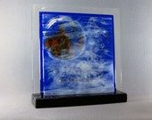 Art Glass Abstract Fused Glass Panel Castle In The Sky For Your Home or Office Artist Signed