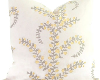 Duralee Prasana Gray and Yellow Meandering Branch Decorative Pillow Cover  Square or Euro pillow cover, accent pillow, throw pillow