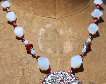 Vintage Glass Bead Necklace One of a Kind Bold Statement Sassy Sisters Jewelry
