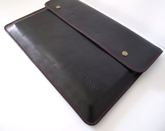 Handmade style case for 11 MacBook Air sleeve, great quality genuine leather, personalized with initials, bag for laptop