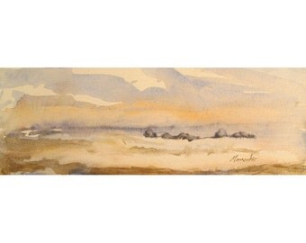 Misty Sunrise at Cape May, New Jersey - an original watercolor