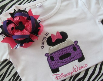 Disney Vacation-Going to Disney World-Car Shirt with Matching Bow-Pink and Purple