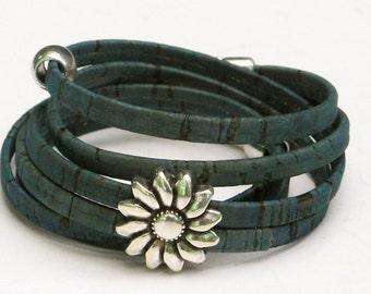 Portuguese cork Wrap Bracelet, teal blue, Sunflower, silver,  sustainable, ecofriendly, vegan, secure magnet