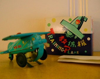 Vintage Tin Training Plane Wind Up Toy with Box Peoples Republic of China