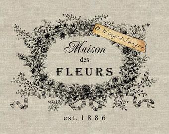 Maison des Fleurs. Instant Download Digital Image No.214 Iron-On Transfer to Fabric (burlap, linen) Paper Prints (cards, tags)