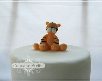 Fondant Tiger Cake and Cupcake Topper by Cupcake Stylist on Etsy